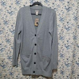 Duluth Trading shiftless cardigan long gray NWT